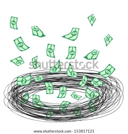Tornado money - stock vector