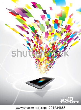 Tornado of colorful blocks swirl over mobile device. Multimedia concept. Vector template