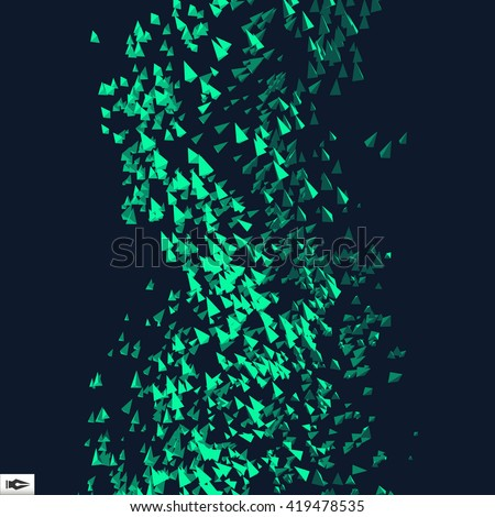 Tornado. Pyramids in Empty Space. Chaotic Particles. Abstract Dynamic Background. Science and Connection Concept. Futuristic Design. Vector Illustration.  - stock vector
