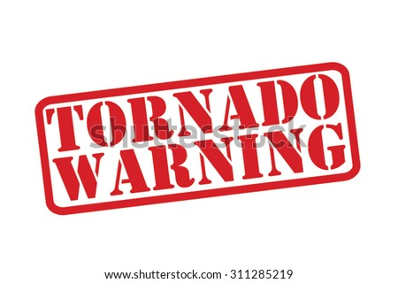 TORNADO WARNING red Rubber Stamp Vector over a white background. - stock vector