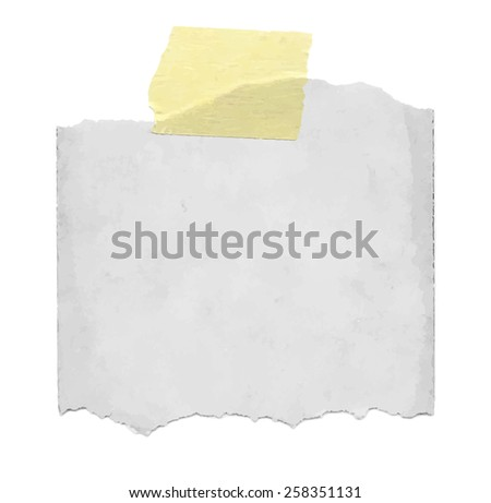 Torned grey note paper with sticky tape - stock vector