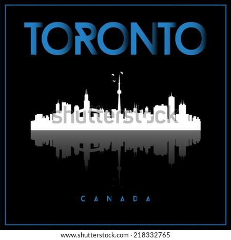 Toronto, Canada skyline silhouette vector design on black background. - stock vector