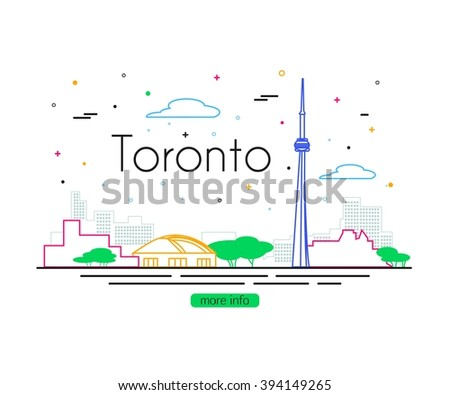 Toronto City Skyline. Canada Travel. Vector illustration. - stock vector