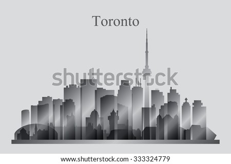 Toronto city skyline silhouette in grayscale, vector illustration - stock vector