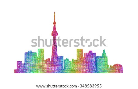 Toronto city skyline silhouette - multicolor line art - stock vector