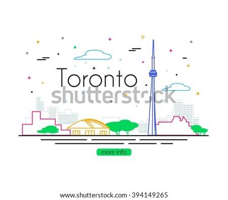Toronto City. Toronto Travel concept design. Toronto City Skyline. Canada Travel. Vector illustration. - stock vector