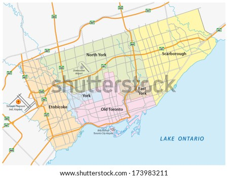 toronto map - stock vector