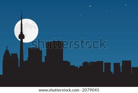 Toronto night view - stock vector