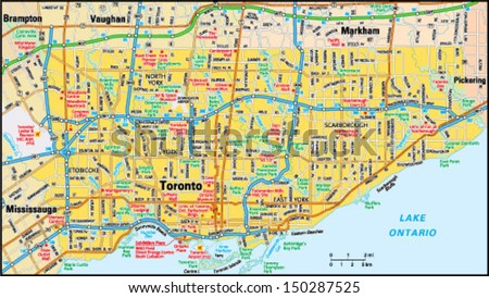 Toronto, Ontario area map - stock vector
