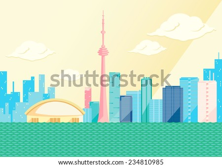 Toronto skyline by day, flat vector illustration. On the seaside, some of the tallest skyscrapers in the Canadian city: CN tower, first Canadian Place, the skydome. Clouds and long shadow, yellow sky - stock vector