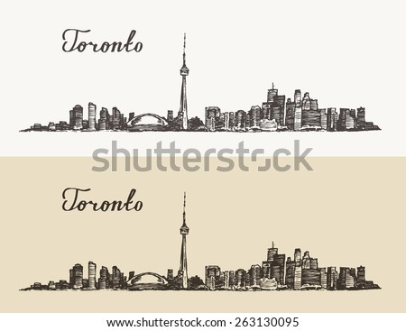 Toronto skyline (Canada), big city architecture, vintage engraved illustration, hand drawn, sketch - stock vector