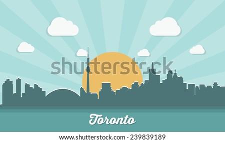 Toronto skyline - flat design - vector illustration - stock vector
