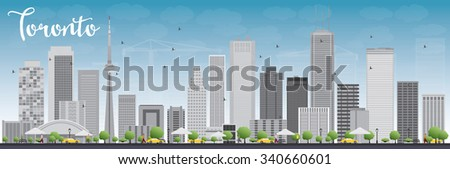 Toronto skyline with grey buildings and blue sky. Vector illustration. Business travel and tourism concept with modern buildings. Image for presentation, banner, placard and web site. - stock vector
