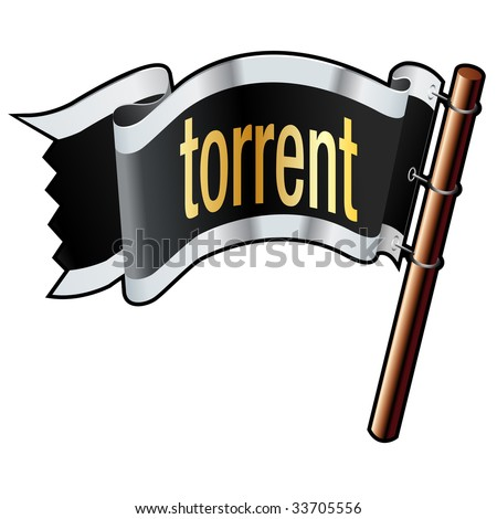 Torrent file extension icon on black, silver, and gold vector flag good for use on websites, in print, or on promotional materials