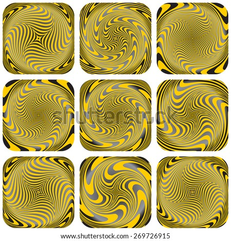 Torsion, rotation and vortex patterns. Abstract design elements set. Vector art. - stock vector