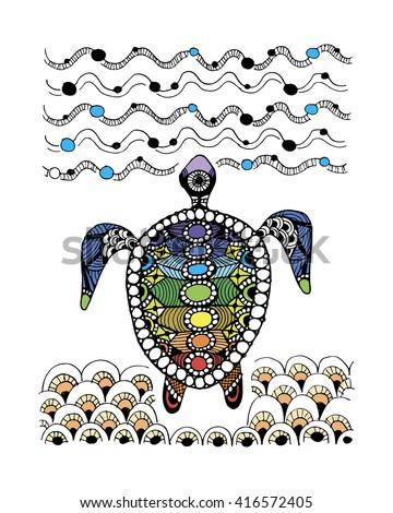 Tortoise ornate, zentangle for your design - stock vector