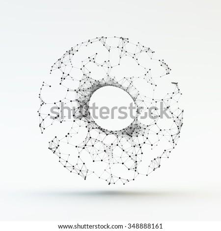 Torus. Molecular lattice. Connection structure. 3d Vector Illustration. - stock vector