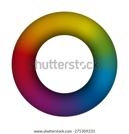 Torus - white background - 3d - rainbow colored - vector illustration.