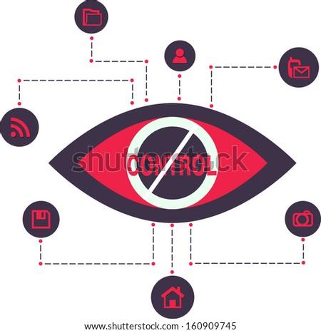 Total Control and secret Spy surveillance technology Vector Illustration Icons flat scheme  - stock vector