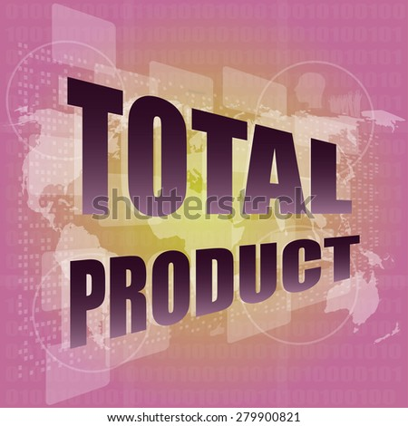 total product words on digital screen background with world map vector - stock vector