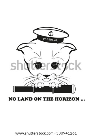 Totono, saddest kitten in the world. He wears sailor hat and holds spy glass - but there is no land on the horizon. Black vector illustration isolated on white background.  - stock vector