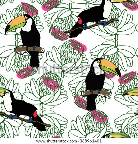Toucan and tropical flora pattern. Seamless vector