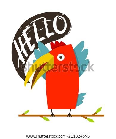 Toucan Bird Saying Hello. Red bird with speech bubble. Vector illustration EPS8 - stock vector