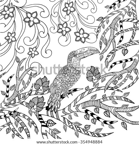 Toucan Coloring Page. Animals. Hand Drawn Doodle. Ethnic Patterned  Illustration. African,