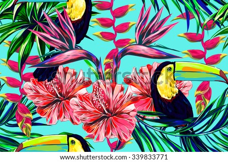 Toucan, exotic birds, tropical flowers, palm leaves, hibiscus, bird of paradise flower. Beautiful seamless vector floral jungle pattern background - stock vector