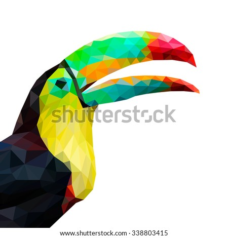 Toucan in low polygon style on white background, vector illustration - stock vector