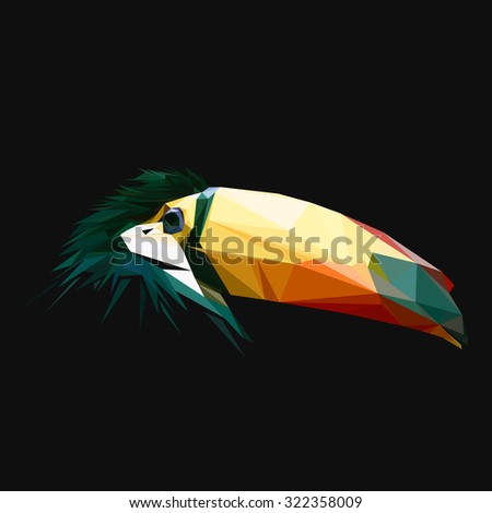 Toucan low poly design. Triangle vector illustration. - stock vector