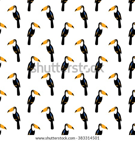Toucan seamless pattern. Tropical  summer illustration. Cute bird background. - stock vector