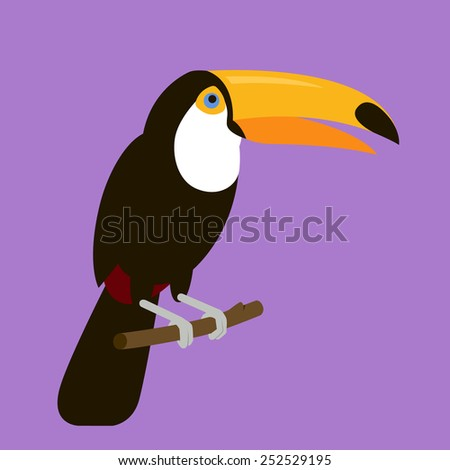 Toucan Sitting On A Branch, Illustration In Flat Style - stock vector