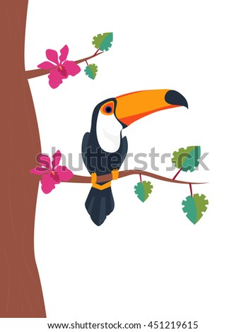 Toucan sitting on tree branch with two orchid on white background. Tropical parrot flat vector illustration