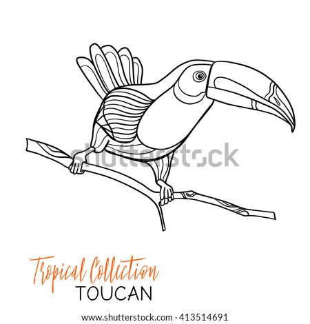 Toucan. Tropical bird. Vector illustration. Coloring book for adult and older children. Coloring page. Outline drawing. - stock vector