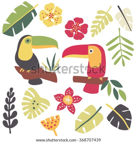 Toucans and tropical plants - stock vector