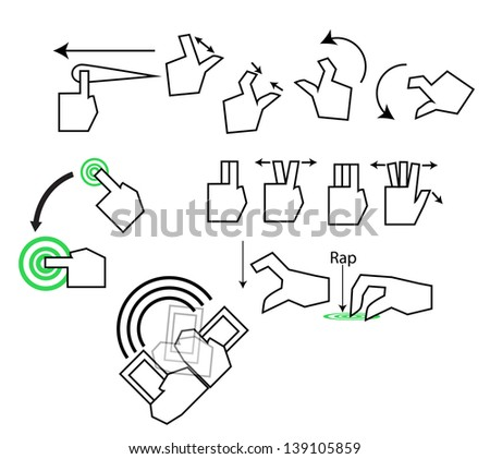 touch gestures icon - stock vector