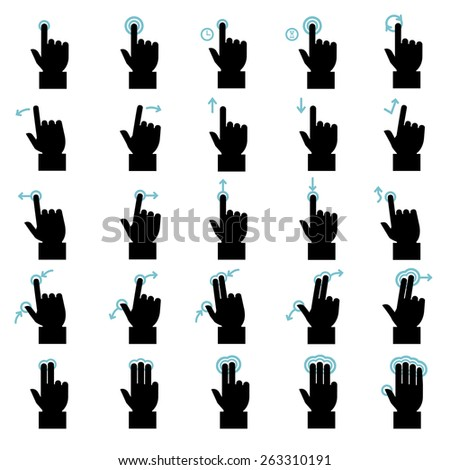 Touch gestures icons set - stock vector