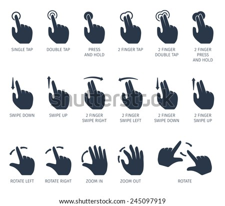 Touch gestures icons set with hands tap rotate press swipe isolated vector illustration - stock vector