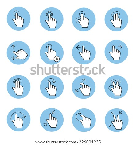 Touch gestures icons vector - stock vector