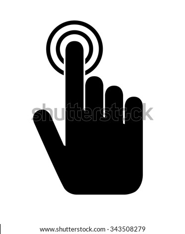Touch Hand Icon, Hand Pointing, Hand Pressing a Button, Click Icon, ringing doorbell - stock vector