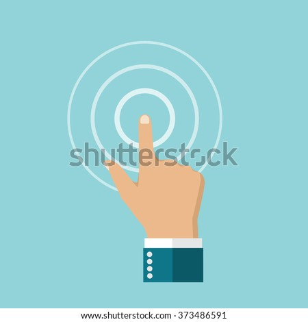 Touch icon. Hand in flat style, finger touching the touch screen. Point, clicking. touch button. Touchscreen.  Design element for web and mobile applications. Vector illustration. - stock vector