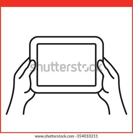 Touch screen gesture for tablet pc and smartphone. Simple outlined vector icon for a mobile app, user interface and manual. Tablet gesture icon in linear style - stock vector