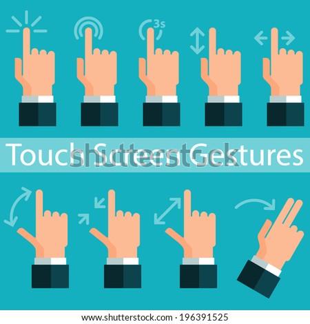 Touch Screen Gestures - stock vector