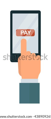 Touch screen hand digital tablet smart virtual wireless technology. Computer digital display concept touch screen hand. Vector touch screen hand interface communication business tablet. - stock vector