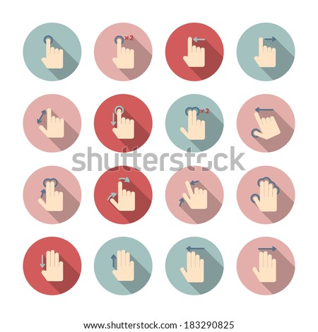Touch screen hand gestures guide pictograms collection for application design isolated vector illustration - stock vector
