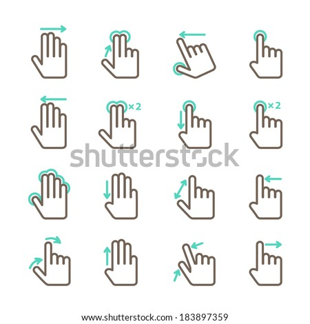 Touch screen hand gestures icons set for mobile application design isolated vector illustration - stock vector