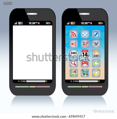touch screen mobile phone - stock vector