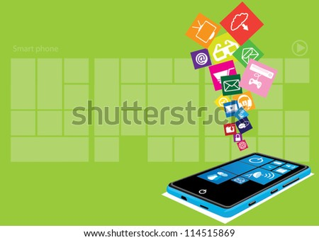 Touch screen mobile phone with streaming icons - stock vector
