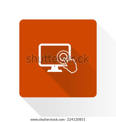 Touch screen monitor icon.Hand pointer symbol. - stock vector